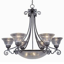 "ANTIQUE PEWTER 9 LIGHT CHANDELIER 30.5"" X 33"""
