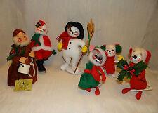 Annalee Mobilitee Christmas Mice, Santa, Snowman and Monk Vintage Christmas
