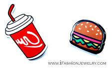 Pop Big FUNKY JUNK FOOD Hamburger Burger Coke Cola Stud Earrings Fashion Jewelry