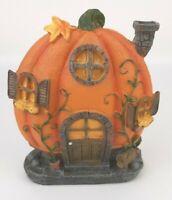 Fairy Garden Halloween Pumpkin House Resin Figurine Fall Thanksgiving country