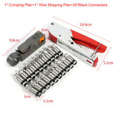 F-Type Compression Crimper Hand Tool Rotary Coaxial Cable Cutter +20X Connectors
