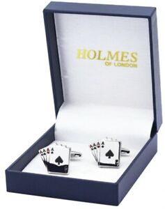 CUFF LINKS 4 ACES PLAYING GAMBLING CARDS POKER GAME PARTY CUFFLINKS GIFT NEW UK