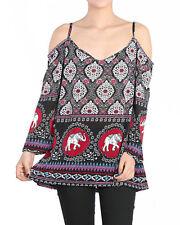 RED BLK top blouse shirt MEDITATION Elephant Paisley hippie boho Beach YOGA spa