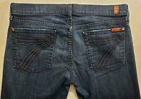 7 for All Mankind Dojo Capri Womens Denim Blue Jeans Size 31 Cropped Dark Wash