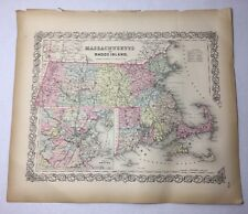Antique 1855 Massachusetts Rhode Island Boston Map Hand-Colored Colton's Atlas