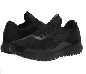 SKECHERS 108007/BLK SQUAD SR GLISTLE Wmn`s (M) Black Knit/Mesh Work Shoes