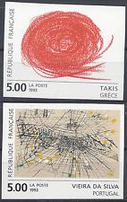 TABLEAU TAKIS / DA SILVA N°2834/2835 TIMBRE NON DENTELÉ IMPERF 1993 NEUF ** MNH