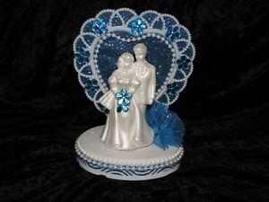 NEW HEART DECOR WHITE PEARLIZED BRIDE AND GROOM FIGURINE CAKETOPPER, 4 COLORS
