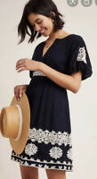 Anthropologie Orla Embroidered Mini Dress, Black Size 0 Puff Sleeves NWT