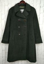 Burberrys Spain Double Breasted Coat Green Wool & Angora Size UK 18 EU 46