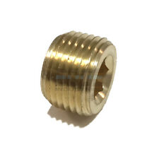 BRASS COUNTERSUNK HEX PLUG MALE 3/8 NPT THREADS PIPE FITTING AIR WATER QTY 5