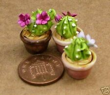 1:12 Scale 3 Small Ceramic Cacti In Pots Tumdee Dolls House Plant Accessories