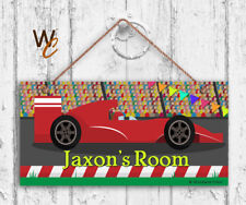 Race Car Sign, Personalized 5x10 Sign, Kid's Name, Kids Door Sign, Race Track