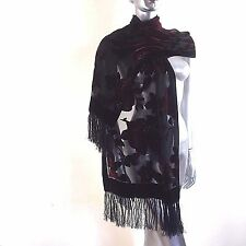 """Besarani Collection London Miliano Silk Scarf Black Red Devore Fringed 70"""" X 20"""""""
