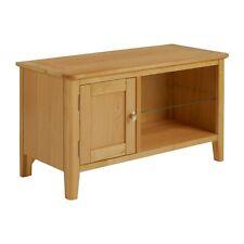 Alba Oak 90cm TV Unit - Small Media Stand - Television Stand With Glass Shelf