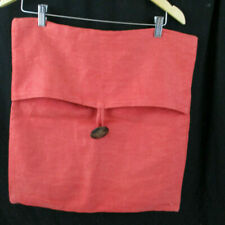 Pottery Barn Linen 18 x 18 Pillow Sham Burnt Orange W/ Large Brown Button