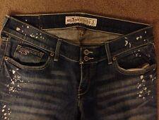 Women's Hollister California Stretch Jeans Size 5 Leg 32 Blue Distressed