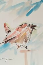 Jose Trujillo Modern Finch Abstract Watercolor Painting Signed - - 6X9