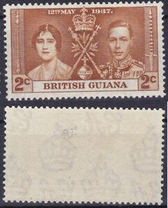 British Guiana 1937 2 Cents Sc-227 KGVI & QE Coronation MLH - US Seller
