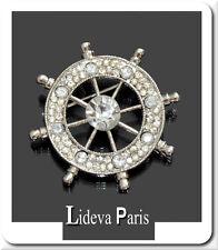 Brosche Vintage Ruder Strass Kristall Silber/Klar 35 mm Paris