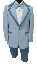 Men's Vintage Light Blue Tuxedo with Pants, Vest, & Bow Tie 1970's Prom 38R 32W