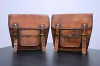 Saddle Motorcycle Bag Leather Western Bags Bike Horse Seat Tooled Brown Oil Bag