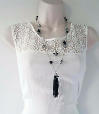 "gorgeous 26"" long silver tone layered chain & bead necklace with tassel pendant"