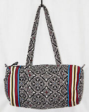 "VERA BRADLEY18"" Duffel Travel Weekender Bag Barcelona Black White Multi Stripe"