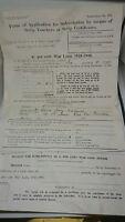VINTAGE 1915 WW1 BRITISH 4.5% WAR BOND LOAN 1925 -1945  FORM USED