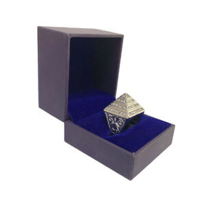 Iced Out Silver Pyramid Ring Durable For Boys Gents - Available All Size