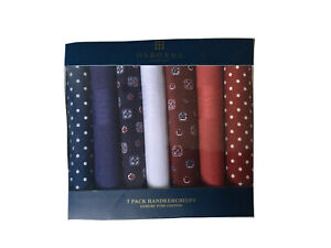 7 Pk ExDebenhams Osborne Luxury Cotton Red white Blue Handkerchiefs Hankies Mens
