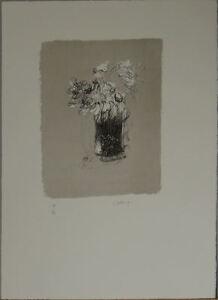 GIANCARLO CAZZANIGA  litografia VASO DI FIORI 54x40 firmata numerata 11/75