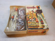 Vintage Marx Geronimo Fort Apache Indian Fighter Action Figure & Box Accessories