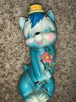 "7"" Blue Cat Kitten Kitschy Bank Vintage Chalkware Rubber Plug"