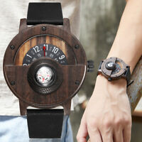 Creative Mens Walnut Wood Watch Male Wooden Leather Real Natural Rosewood Men