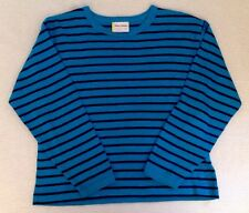 HANNA ANDERSSON 120 6-8 Yrs Long Sleeved Boxy Tee Shirt Blue Black Stripes