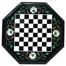 16'' black Marble Chess Table Top Pietra Dura Inlay Children Game Kids h1