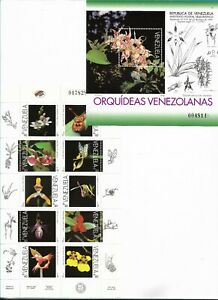 VENEZUELA 1996 ORCHIDS FLOWERS FLORA MINISHEET OF 10 VALUES + SOUVENIR SHEET