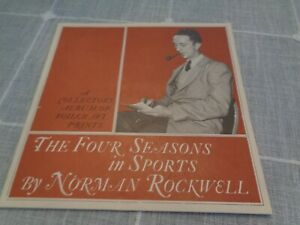 Vintage NORMAN ROCKWELL FOILCRAFT PRINTS Circa 1960s SET OF 4 SEASONS IN SPORTS