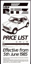 Austin Mini Ritz Limited Edition Price List 1985 UK Market Leaflet Brochure