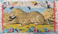 VINTAGE VELVET TAPESTRY WALL HANGING RARE RUG CHEETAH COLORFUL CARPET 88 x 53 cm