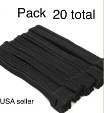 "20 VELCR Brand Ties Cable Cord Organizer Wraps Reusable Die Cut Straps 6"" Black"