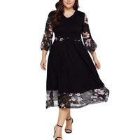 Women Midi Dresses V Neck Wrap Chiffon Floral Long Sleeve Plus Size Prom Dress