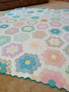 Vintage Grandmother's Flower Garden Quilt 1930s prints 96 by 94