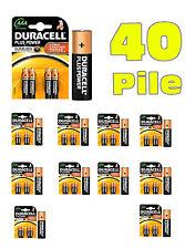 40 BATTERIE DURACELL PLUS PILE ALCALINE MINISTILO AAA 10 BLISTER  DA 4