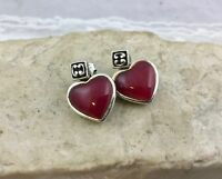 Vintage Reversible 925 Sterling Silver Heart Shape Stud Dangle Earrings Pink ...