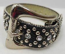 Custom Hand made Faux Leather Dog Collar stud studded rhinestone gem S M 12 - 15