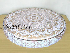 """35X35"""" New Extra Large Round White Golden Floor Decorative Cushion Pillow Covers"""