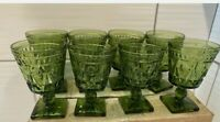 Vintage Indiana Colony Park Lane Green Glass Water Goblets 8 Piece Set UNUSED