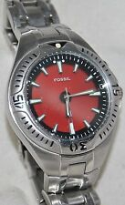 """Fossil """"Blue"""" Animated Watch Flashes Red-Blue Stainless Bracelet Band AM-3539"""